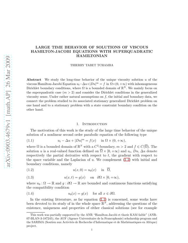 Thierry Wilfried Tabet Tchamba - Large time behavior of solutions of viscous Hamilton-Jacobi Equations with superquadratic Hamiltonian