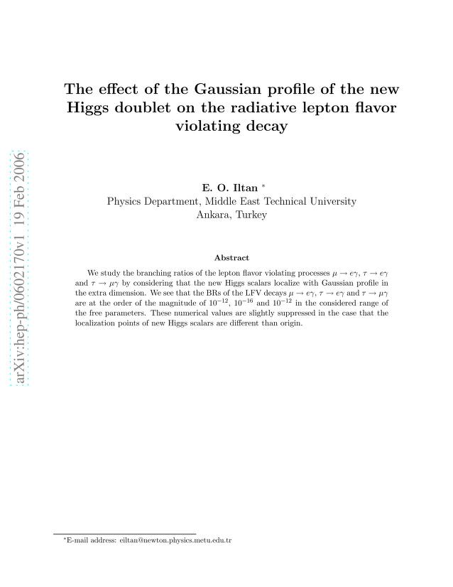 E. O. Iltan - The effect of the Gaussian profile of the new Higgs doublet on the radiative lepton flavor violating decay